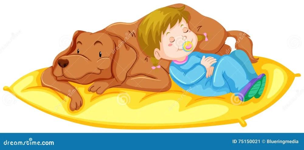 medium resolution of dog and girl sleeping on mat