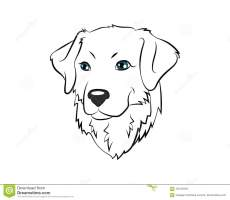 Dog Head Vector Icon Illustration Coloring Page Stock ...