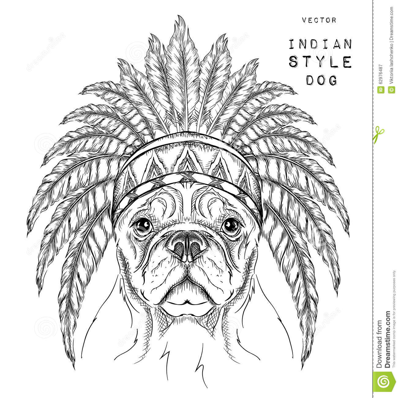Dog In The Indian Roach Indian Feather Headdress Of Eagle