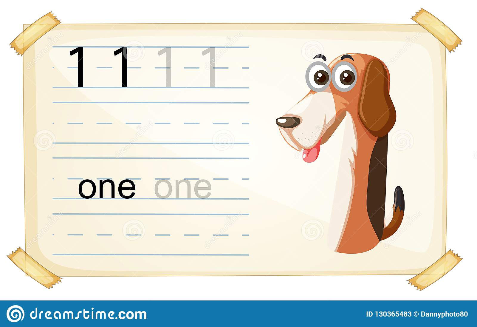 Dog One Number Worksheet Stock Vector Illustration Of