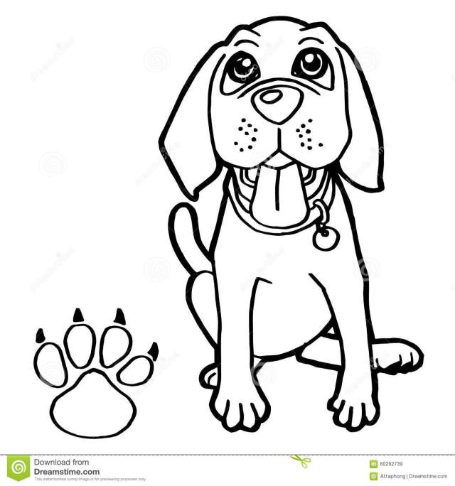 Dog with Paw Print Coloring Pages Vector Stock Vector