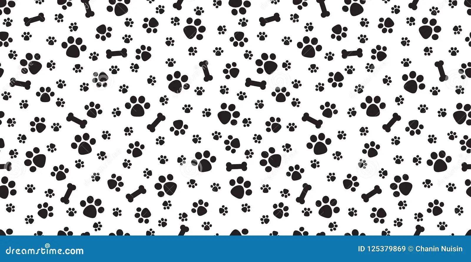 Dog Paw Seamless Pattern Vector Dog Bone Isolated Puppy Cat Wallpaper Background White Stock Illustration Illustration Of Seamless Cartoon 125379869