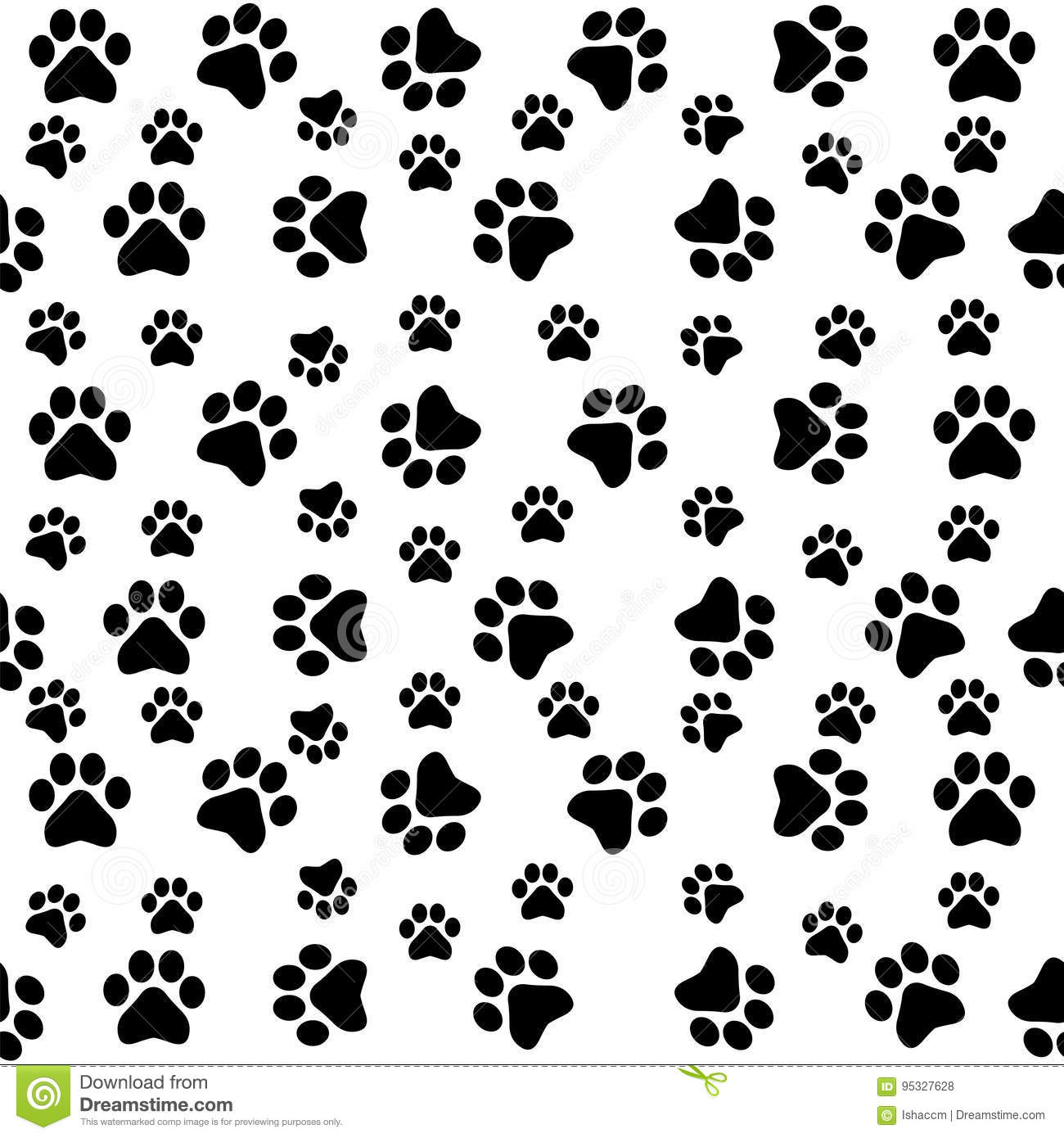 Dog Paws Seamless Pattern Stock Vector Illustration Of