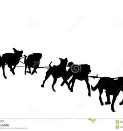 dog sled silhouette on a white background illustration of a dog sledding stock illustration [ 1300 x 905 Pixel ]