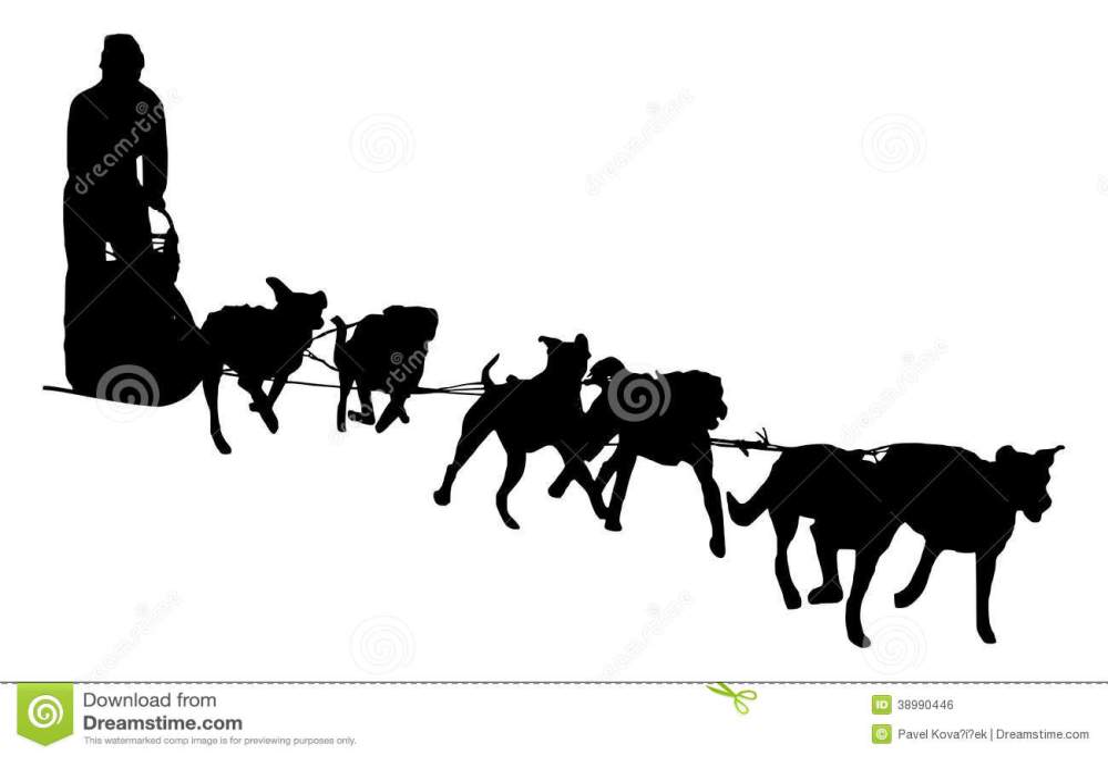 medium resolution of dog sled silhouette on a white background illustration of a dog sledding stock illustration