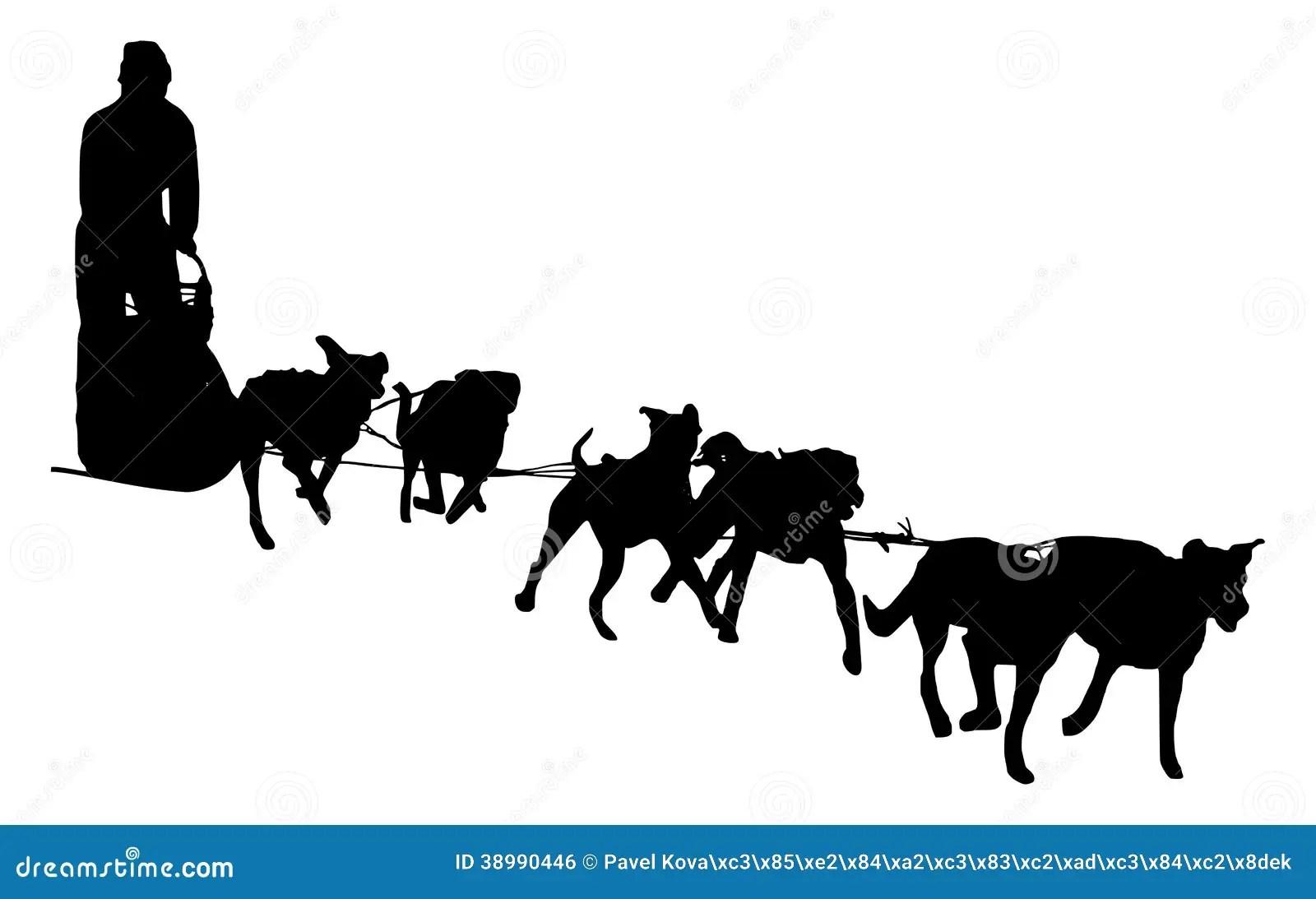 hight resolution of dog sled silhouette on a white background illustration of a dog sledding stock illustration