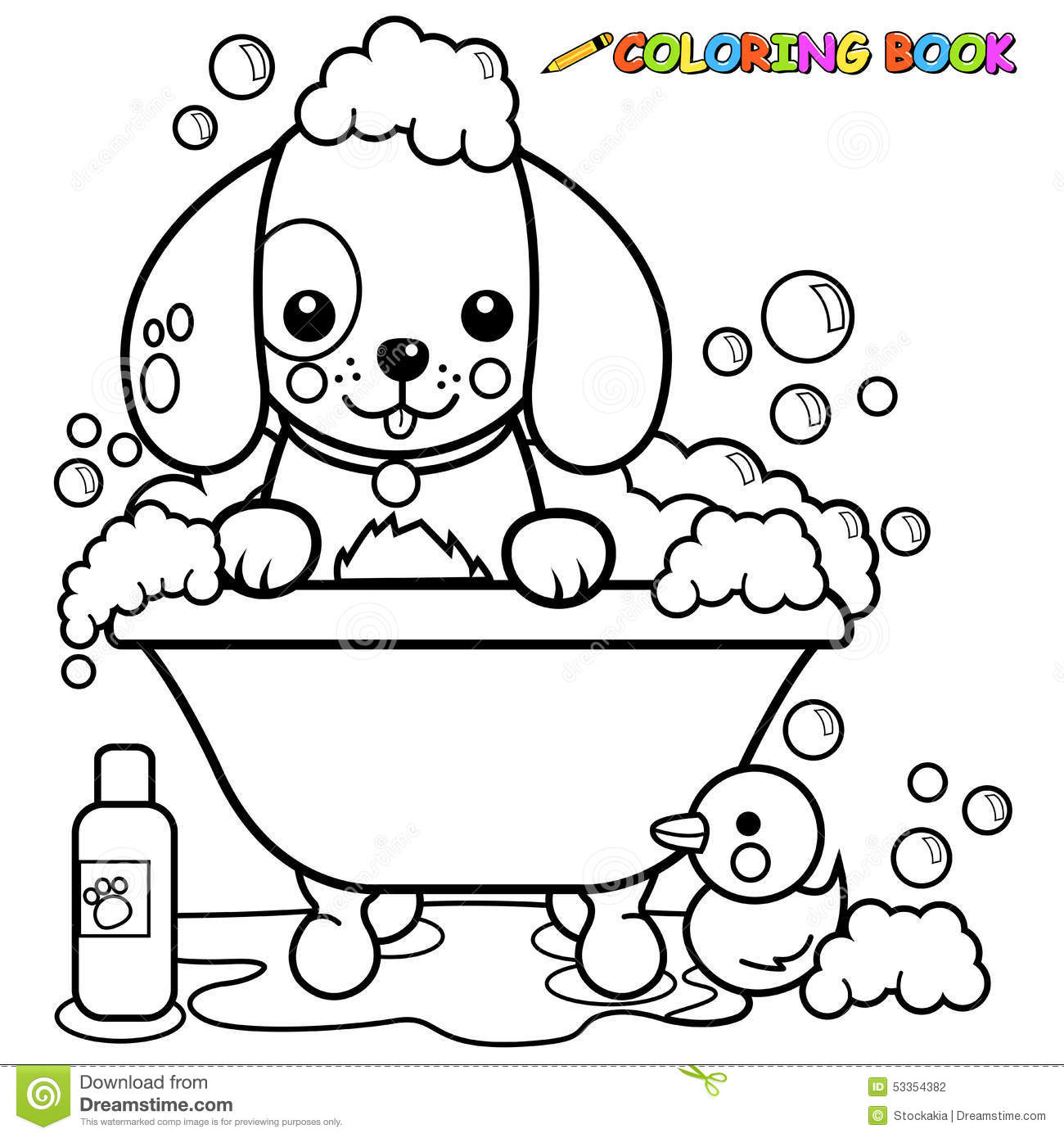 Dog Taking A Bath Coloring Page Stock Vector