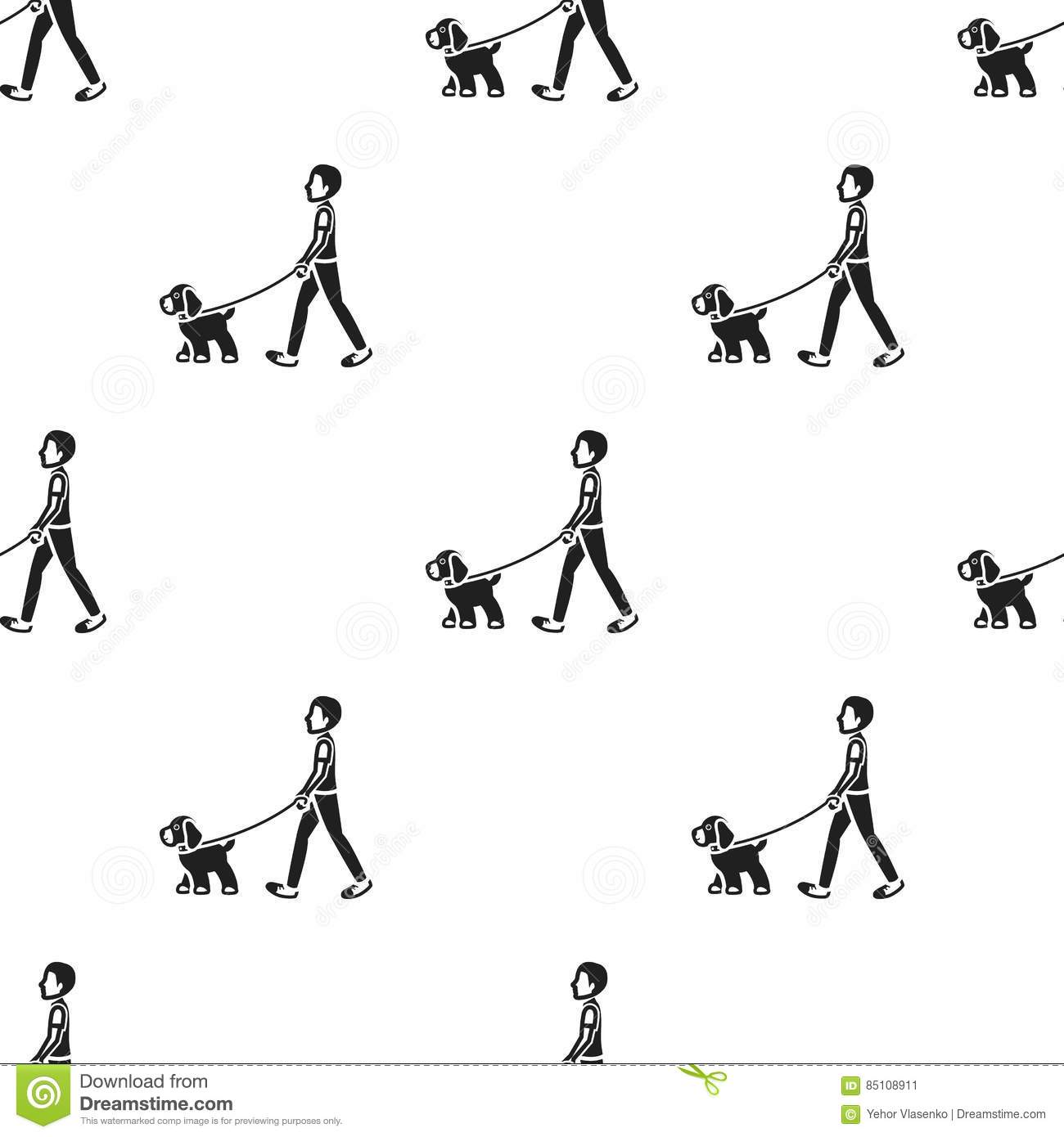 Dog Walk Vector Icon In Black Style For Web Stock Vector