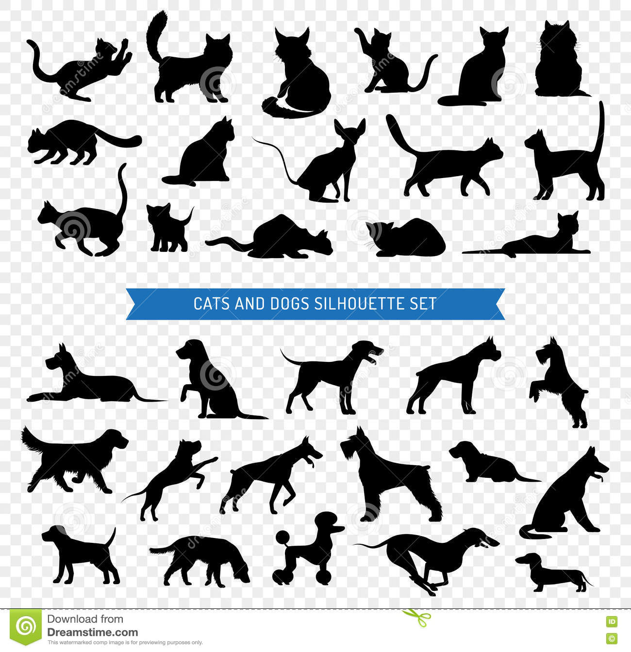 Dogs And Cats Black Silhouette Set Stock Vector