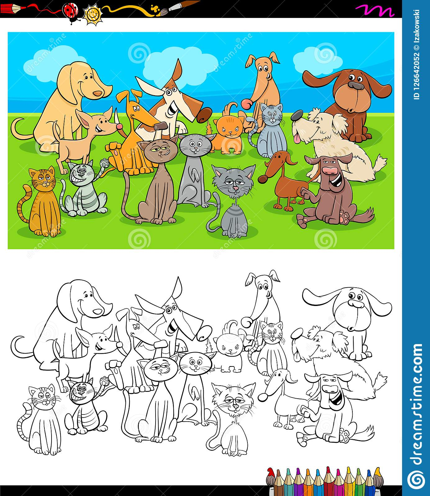 Dogs And Cats Characters Coloring Book Stock Vector