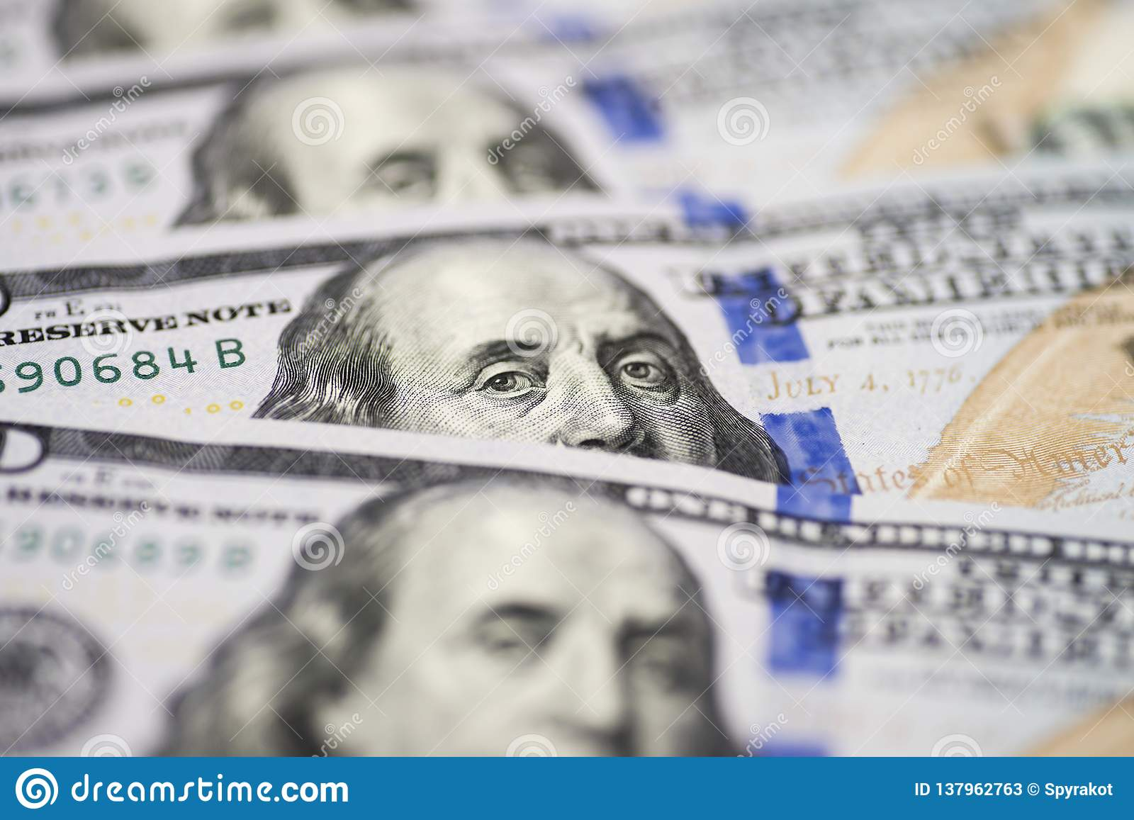 Dolar Usa Close Up Benjamin Franklin S Eyes From A
