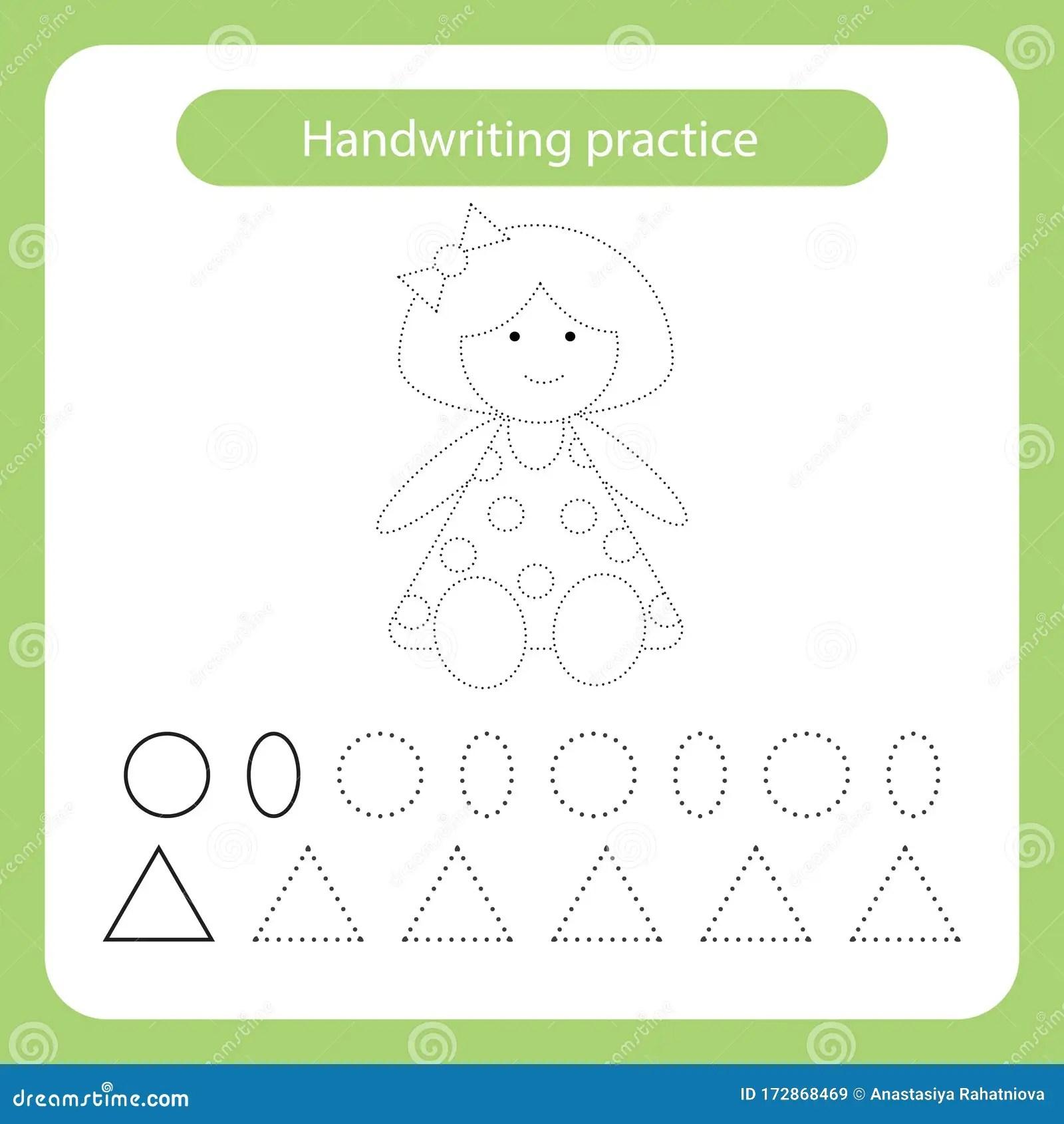 Doll Kids Toys Theme Handwriting Practice Sheet Stock