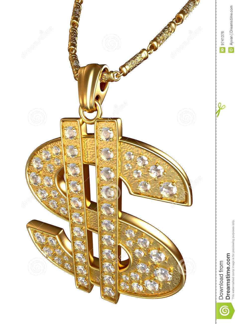 Dollar Sign Necklace Stock Illustration Image Of Clip
