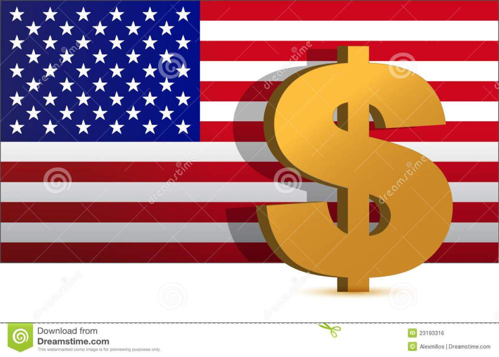 medium resolution of dollar sign on us flag background illustration