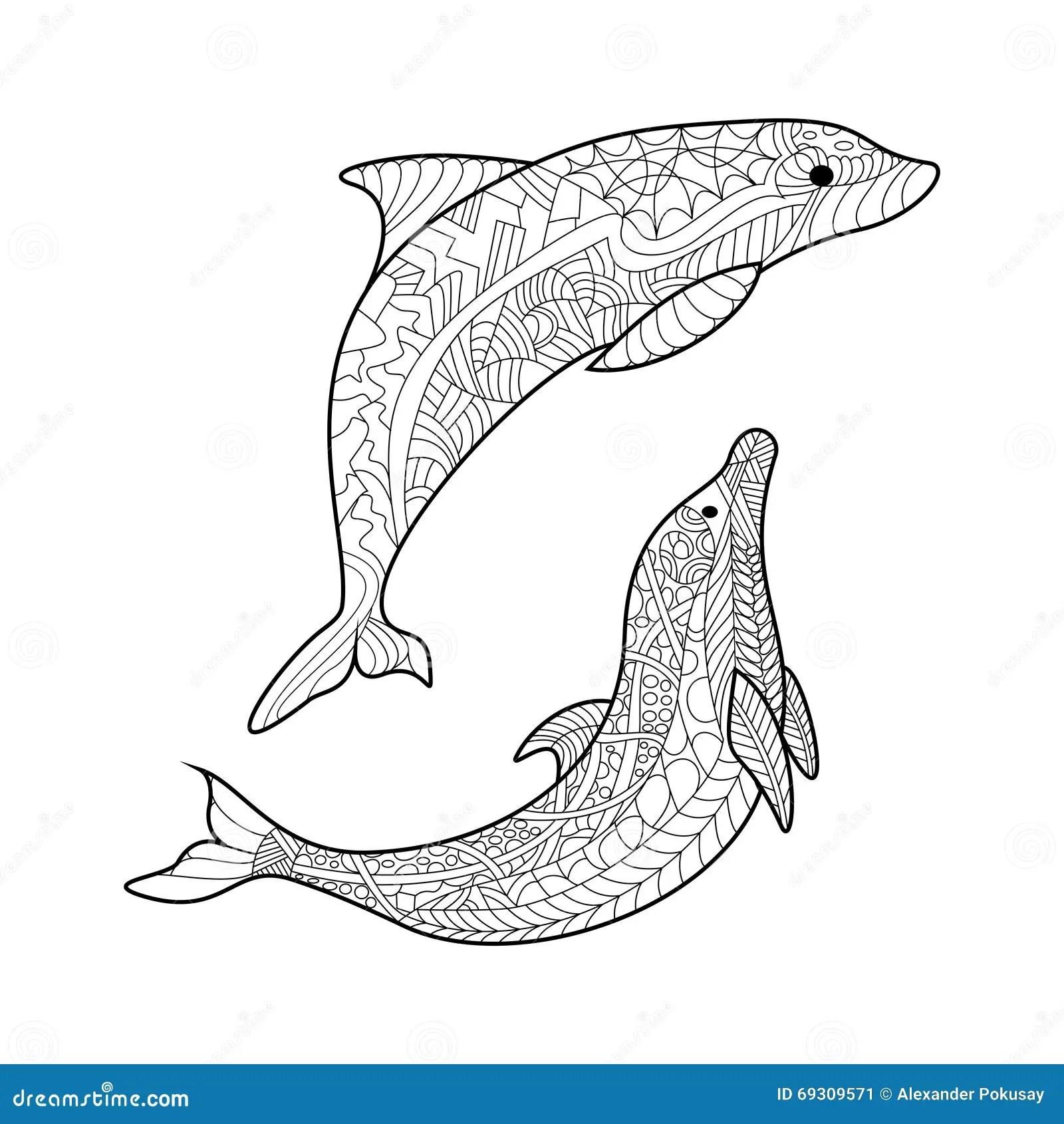 Coloring Dolphin Mandala Vector Illustration