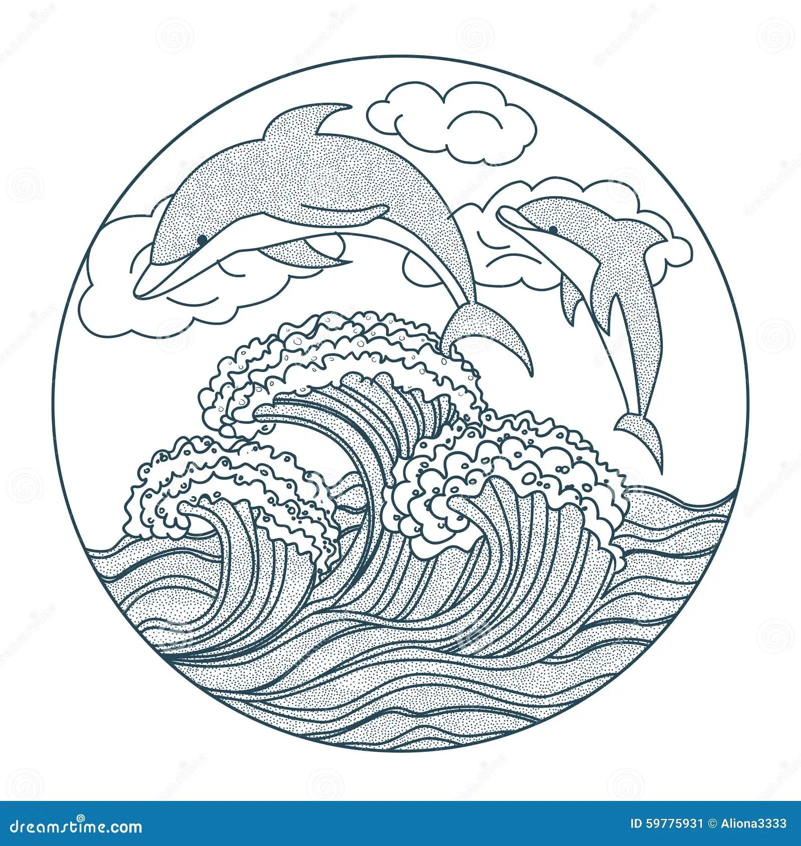 Dolphin Dots Icon Stock Vector