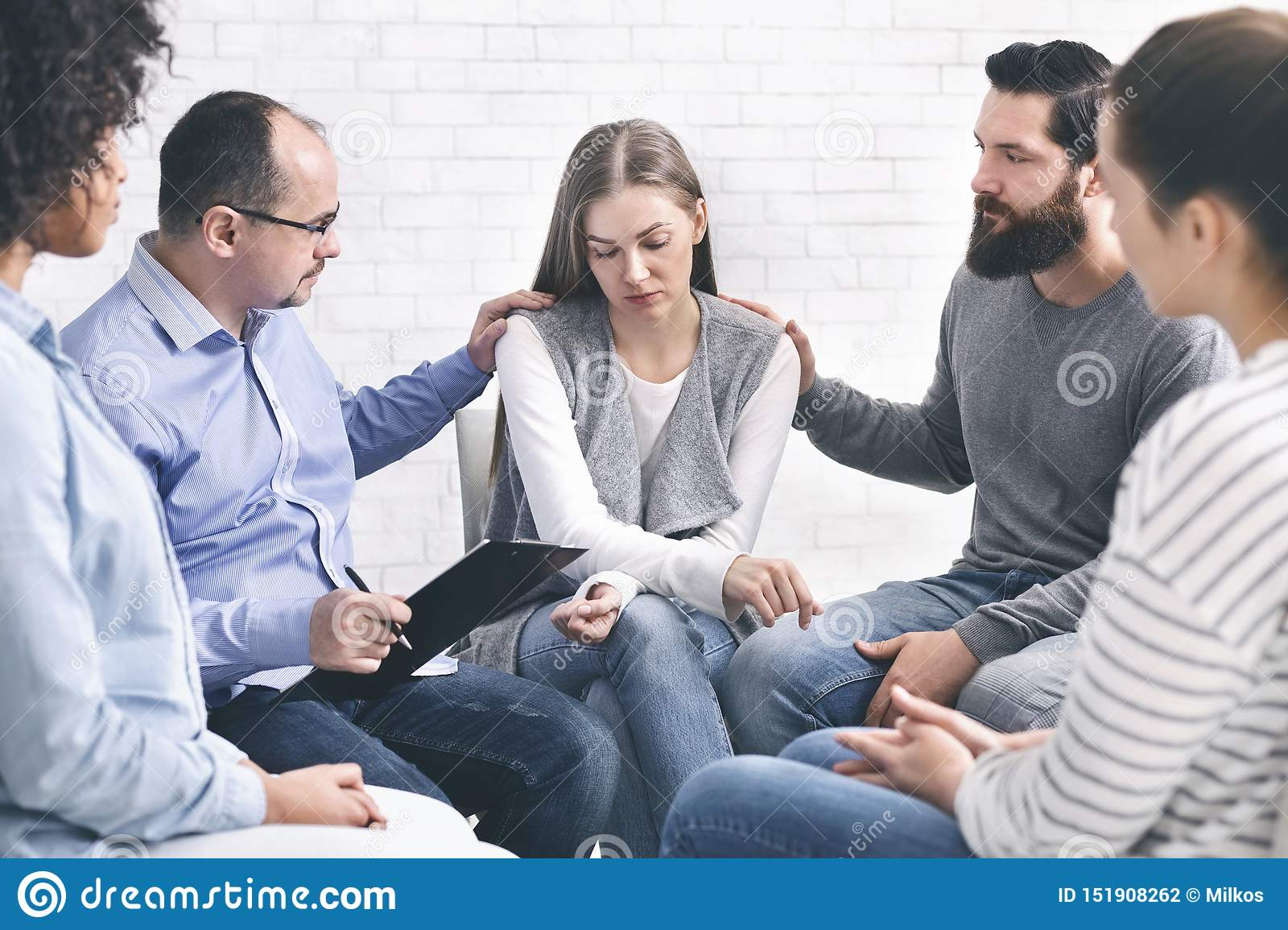 Domestic Violence Victim On Therapy With Support Group