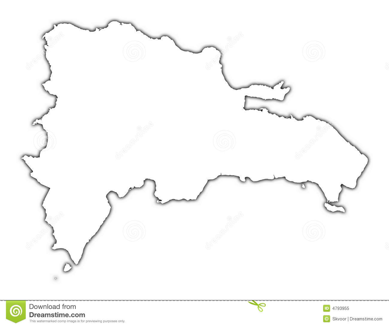 Dominican Republic Outline Map Stock Illustration
