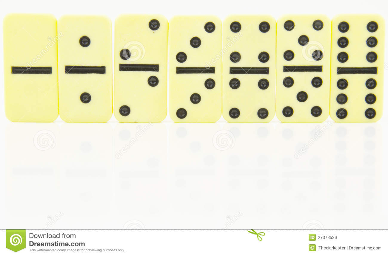 Domino Doubles Stood In Order Stock Photo