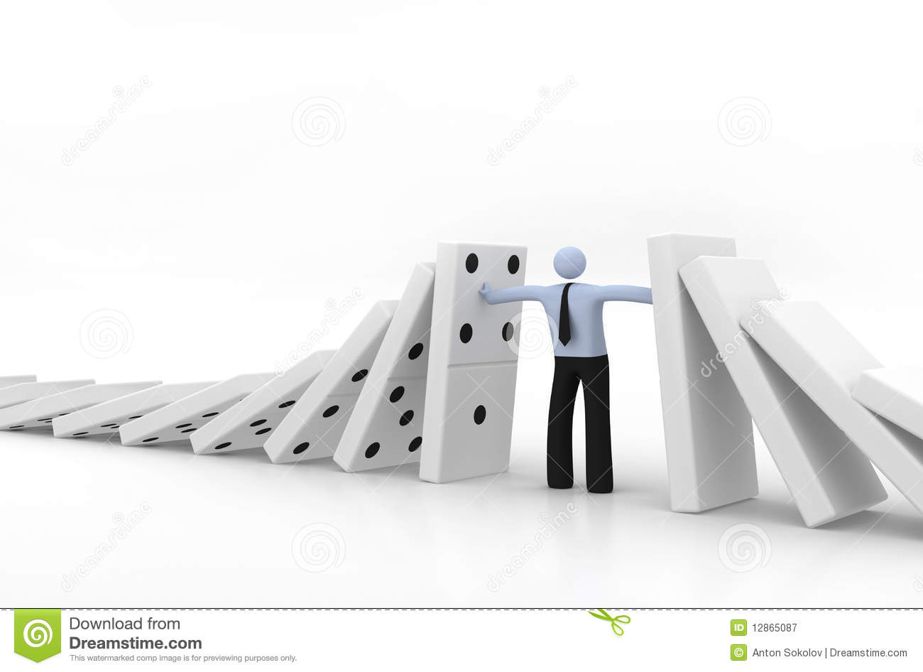 Domino Effect Stock Illustration Illustration Of White