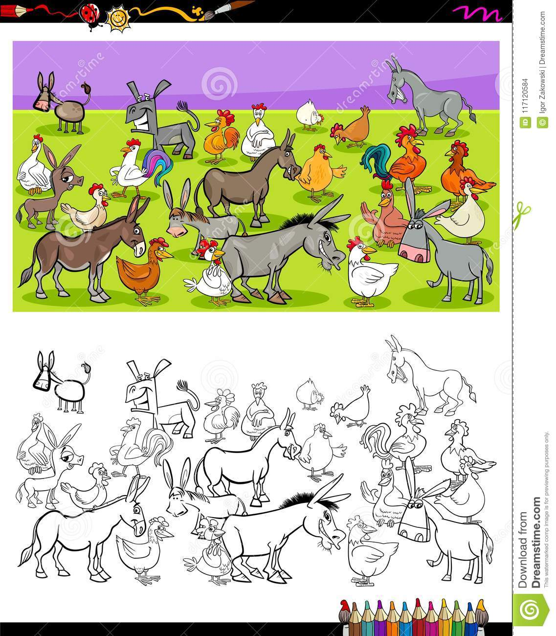 Donkeys And Chickens Characters Color Book Stock Vector