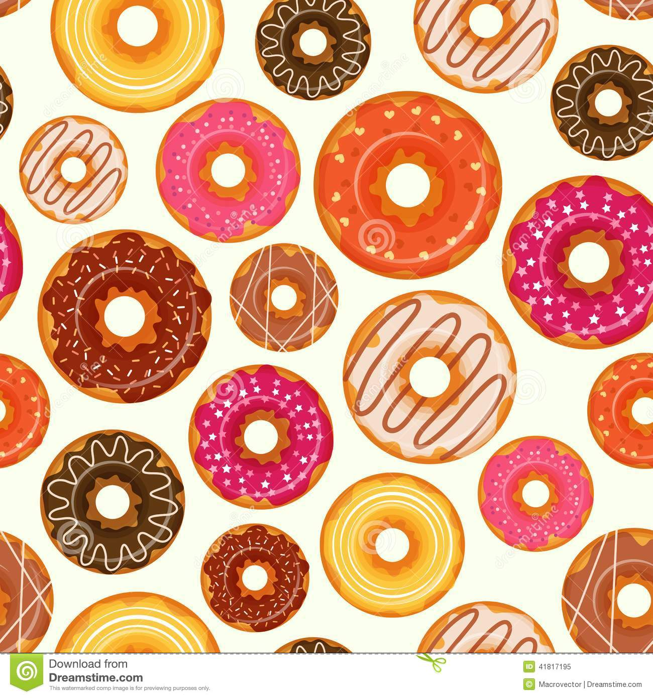 Donut seamless pattern stock vector Image of bakery