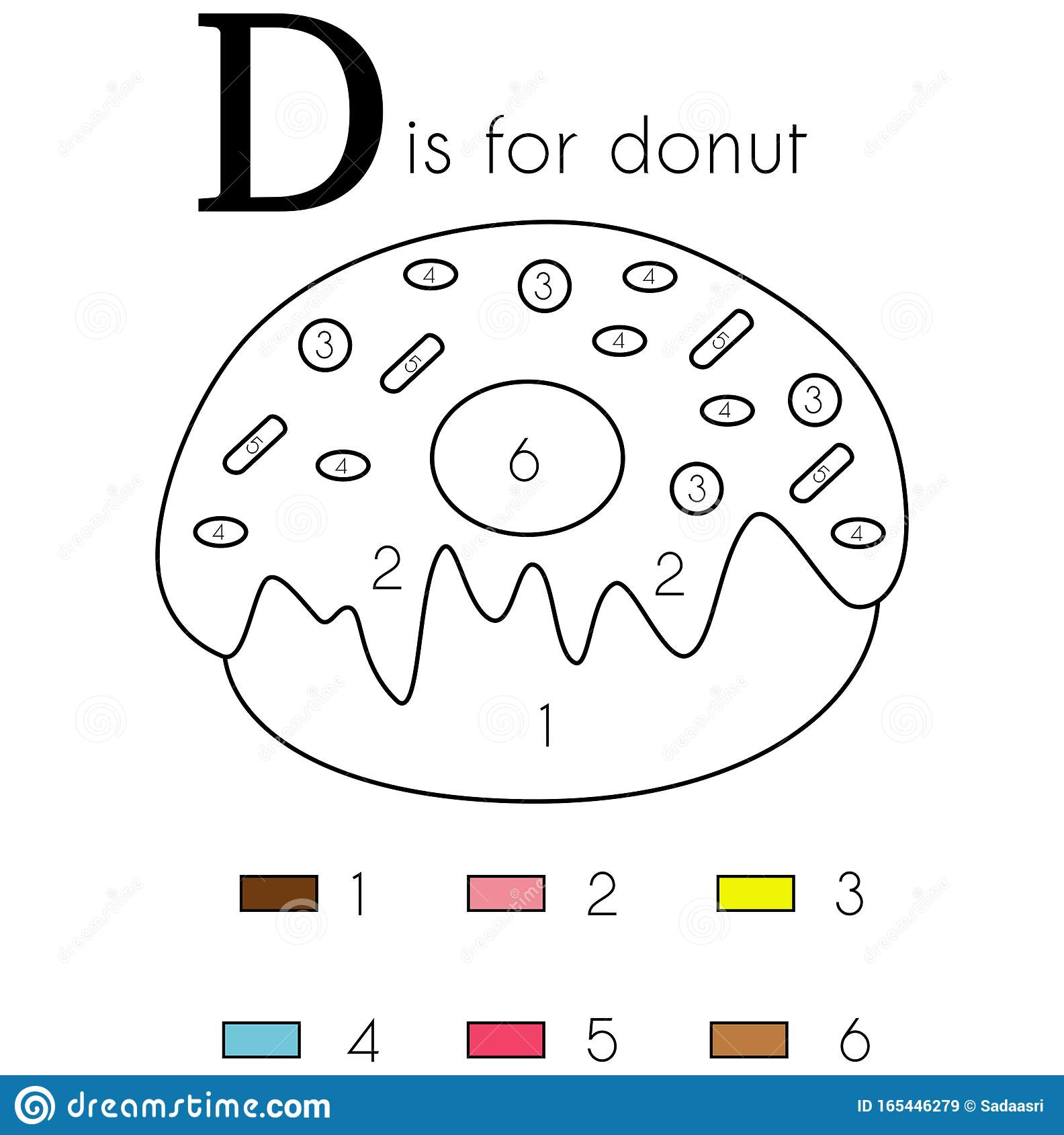 Donut Vector Alphabet Letter D Coloring Page Stock Image Illustration Of Alphabet Green 165446279