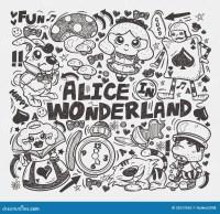 Doodle Alice In Wonderland Element Stock Vector - Image ...