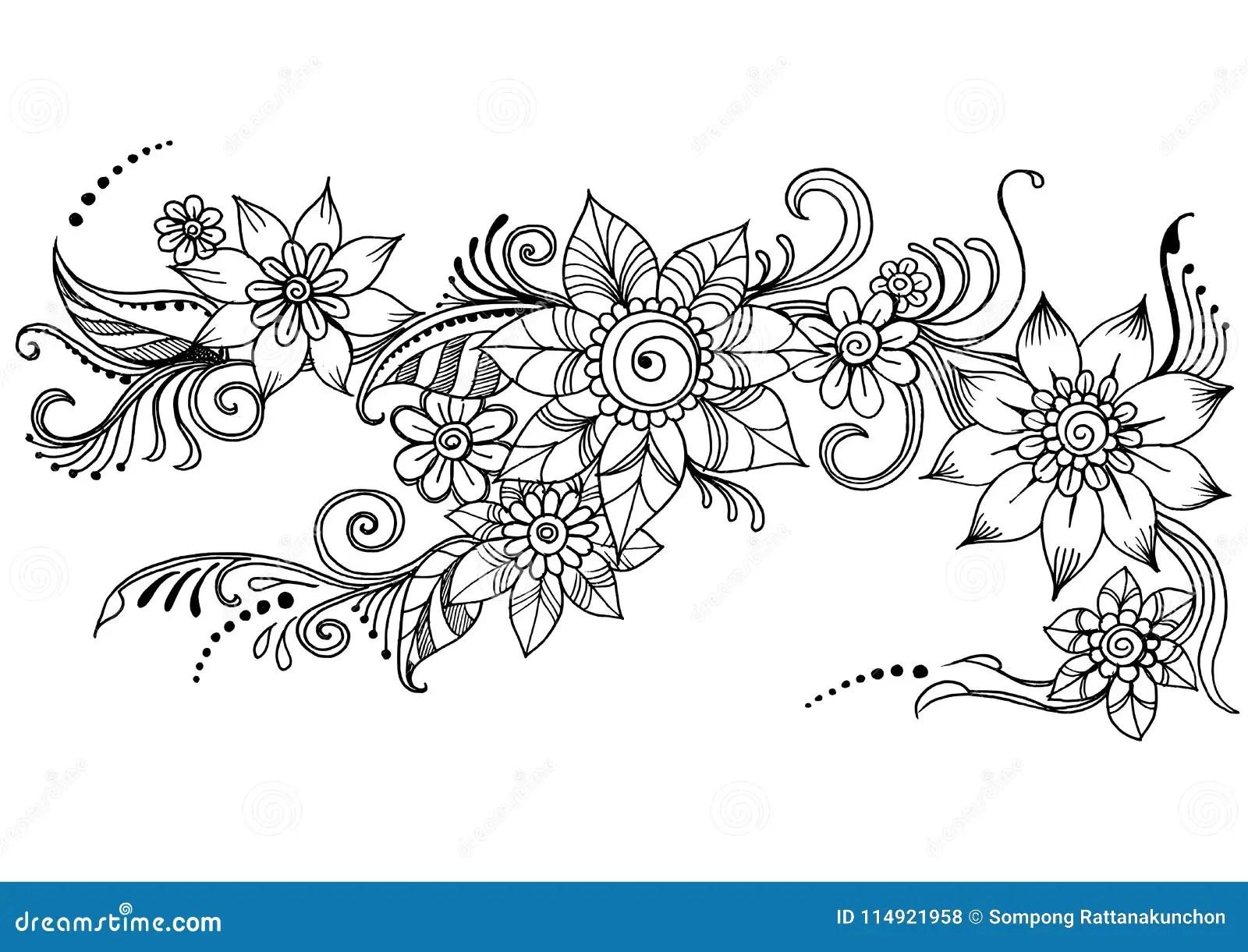 Doodle Art Flowers Zentangle Abstract Flower Vector