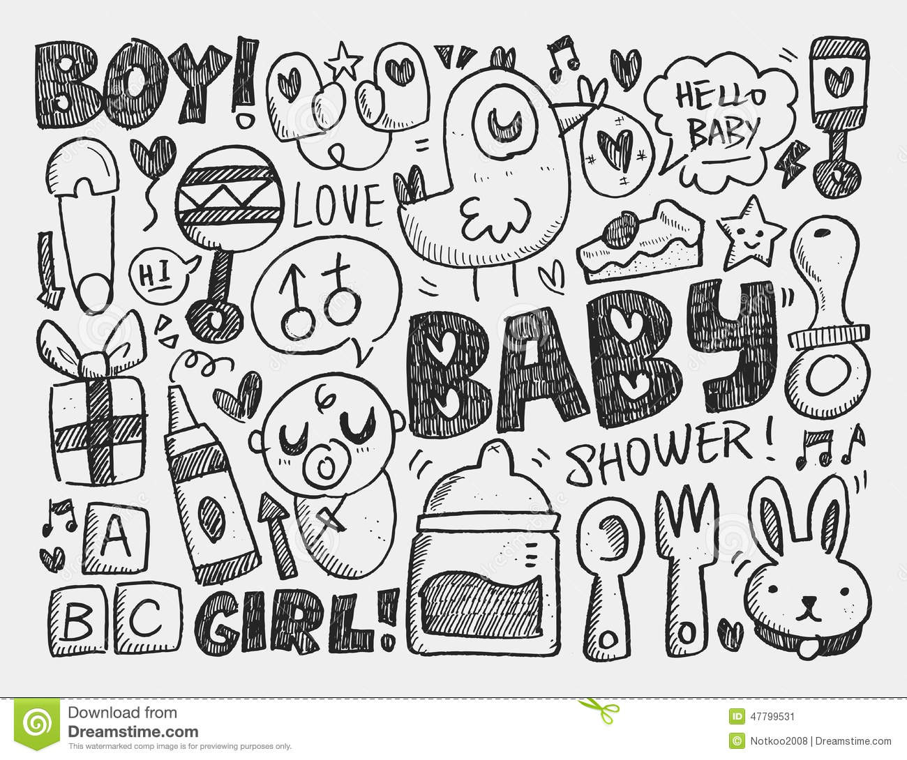 Doodle Baby Background Cartoon Vector
