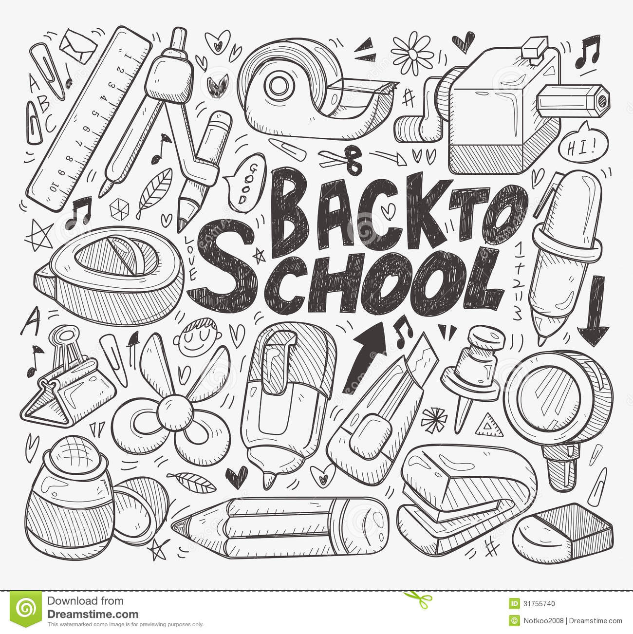 Doodle Back To School Element Stock Photo