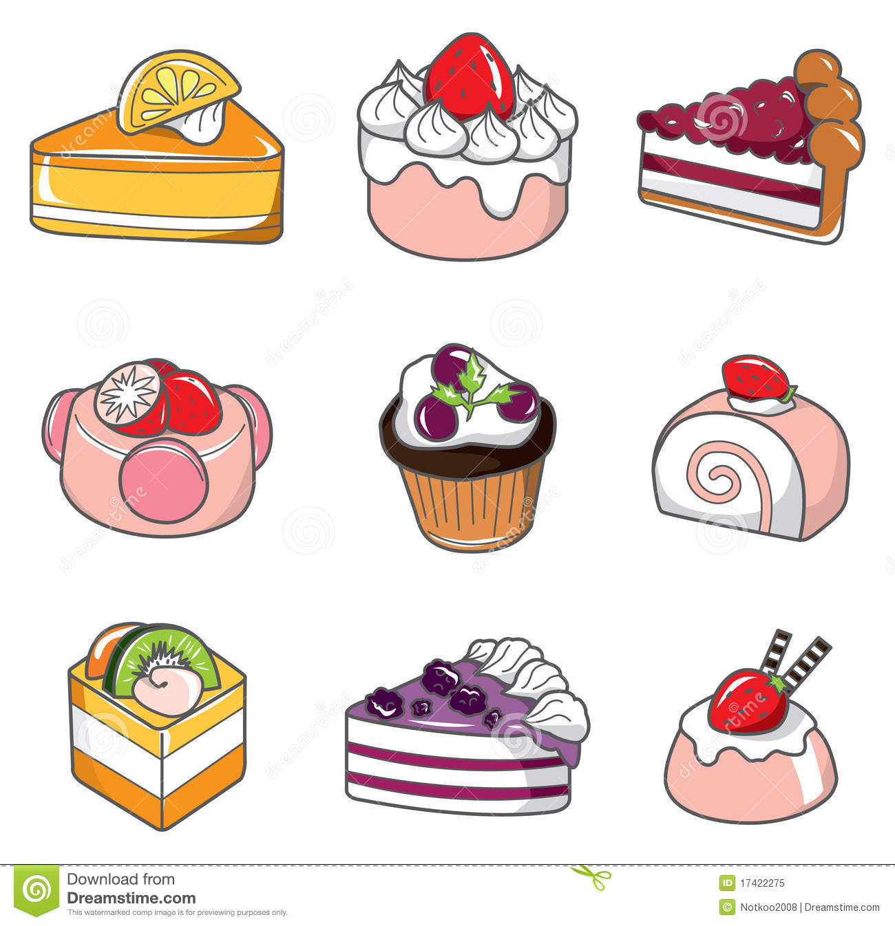 Doodle cake stock vector. Illustration of doodle. cherry - 17422275