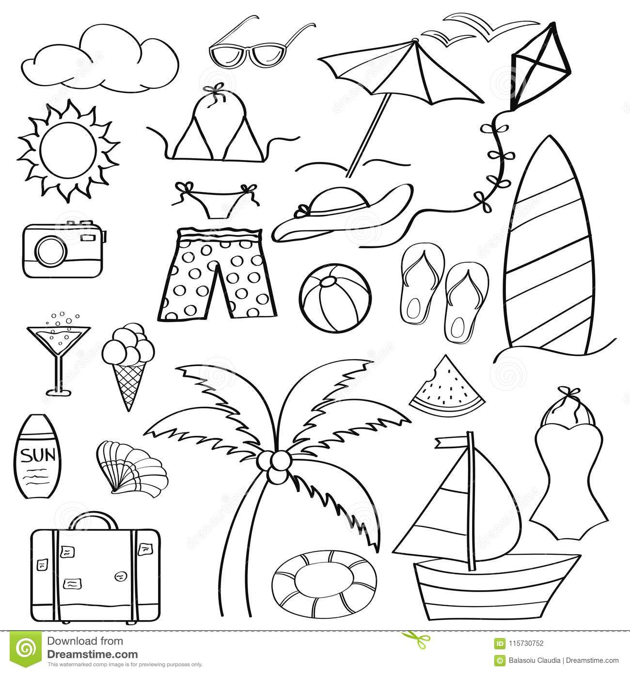 Doodle Cartoon Items Summer Holiday Collection For