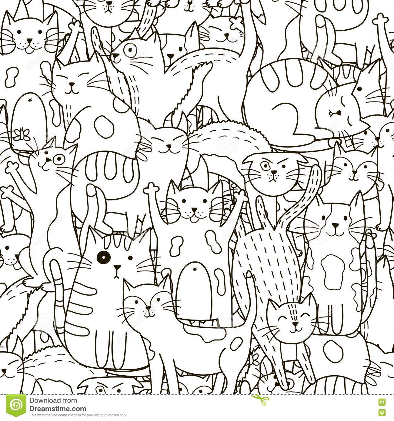 Doodle Cats Seamless Pattern. Black And White Cute Cats