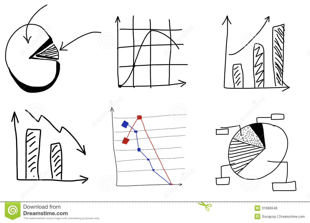 Doodle Charts By Hand Stock Illustration Illustration Of