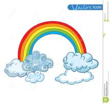 Doodle Clouds And Rainbow Hand Drawn Vector Stock