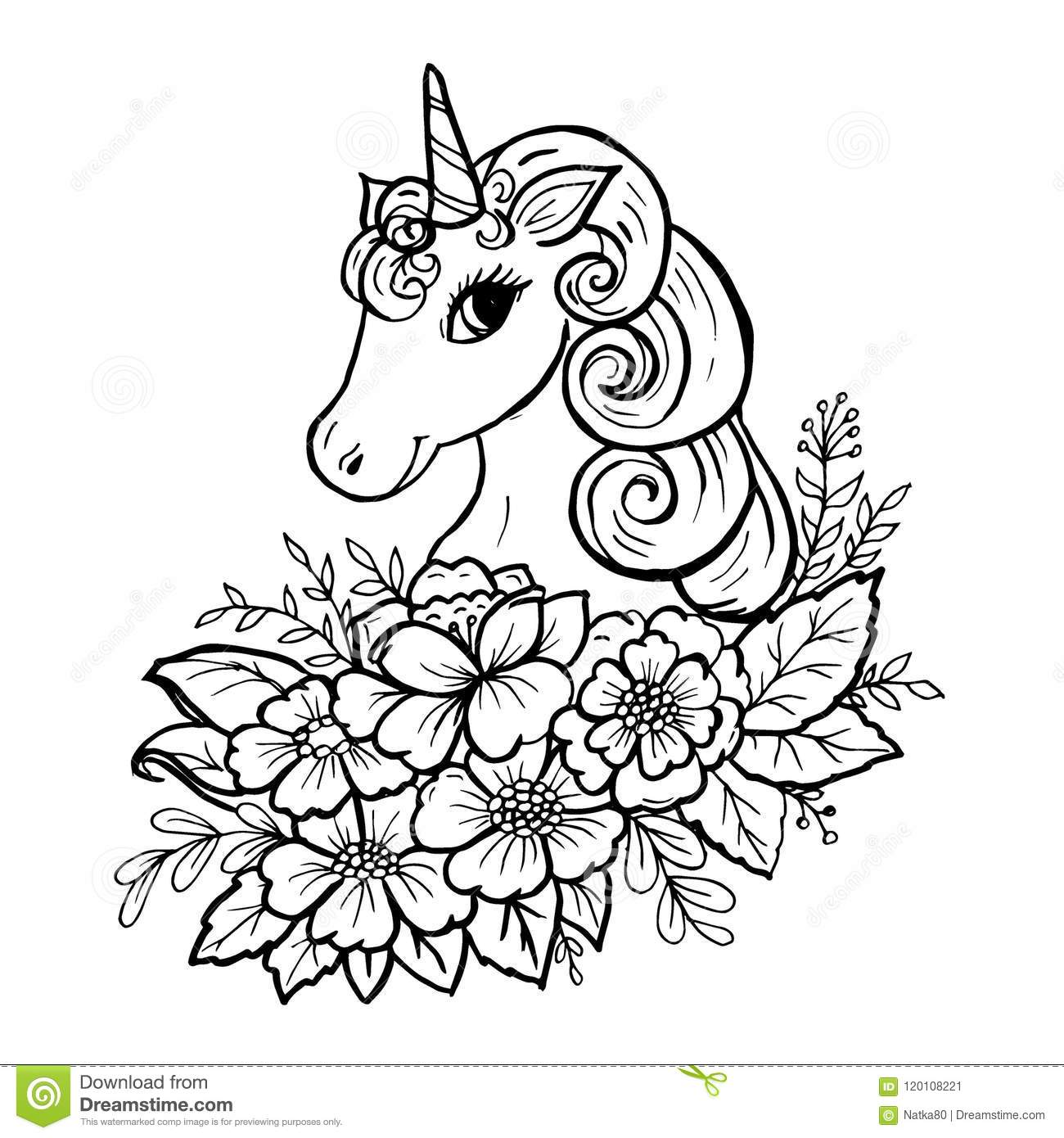 Doodle Cute Unicorn Head Stock Vector Illustration Of