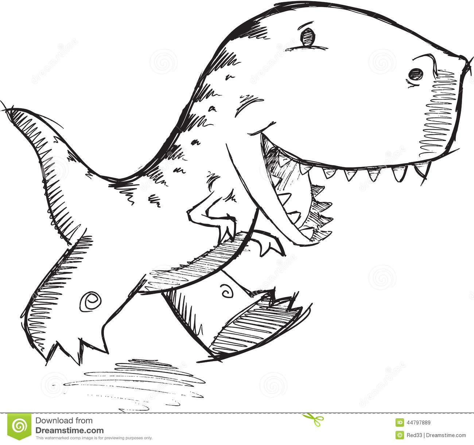 Doodle Dinosaur T Rex Stock Vector