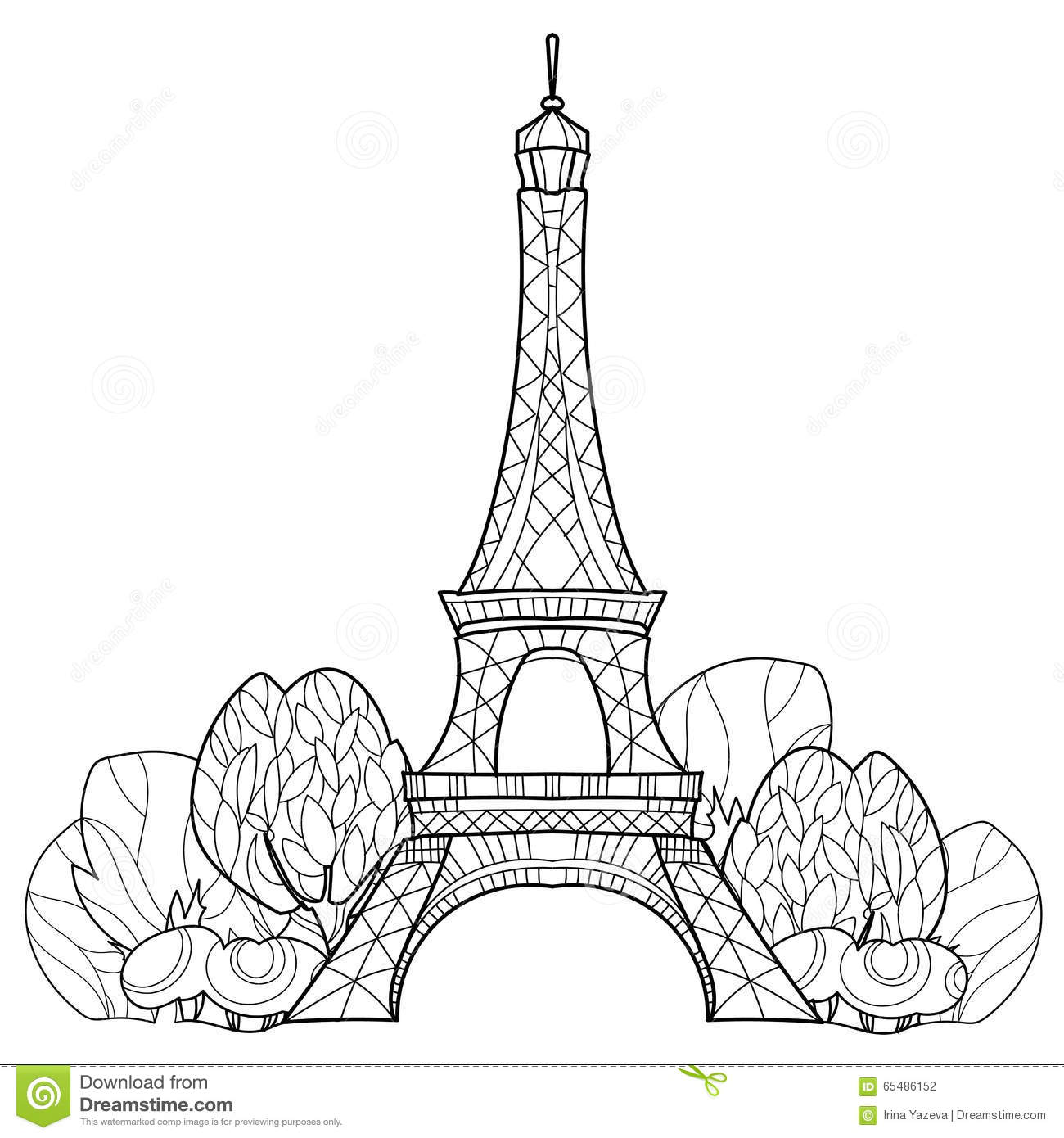 Doodle Eiffel Tower Hand Drawn Vector Sketch Stock