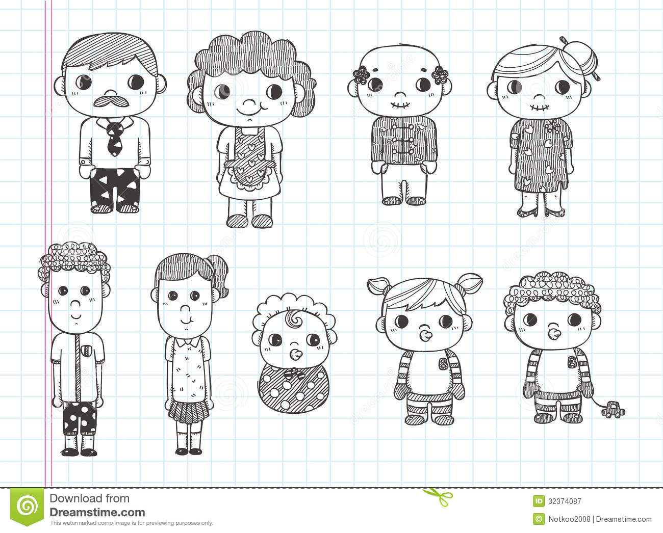 Doodle Family Icons Illustrator Line Tools Drawin Royalty