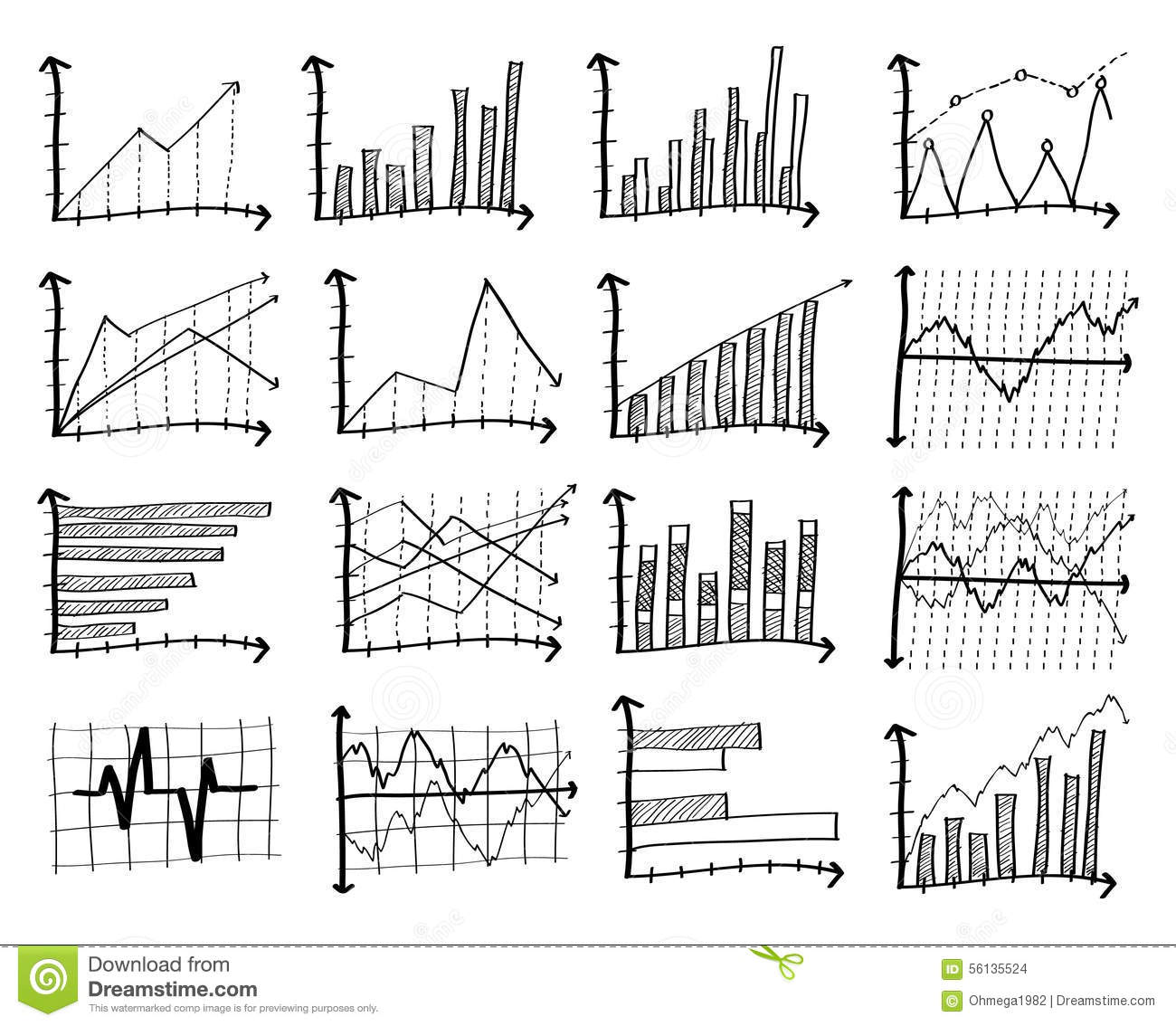 Doodle Finance Graph. stock vector. Illustration of