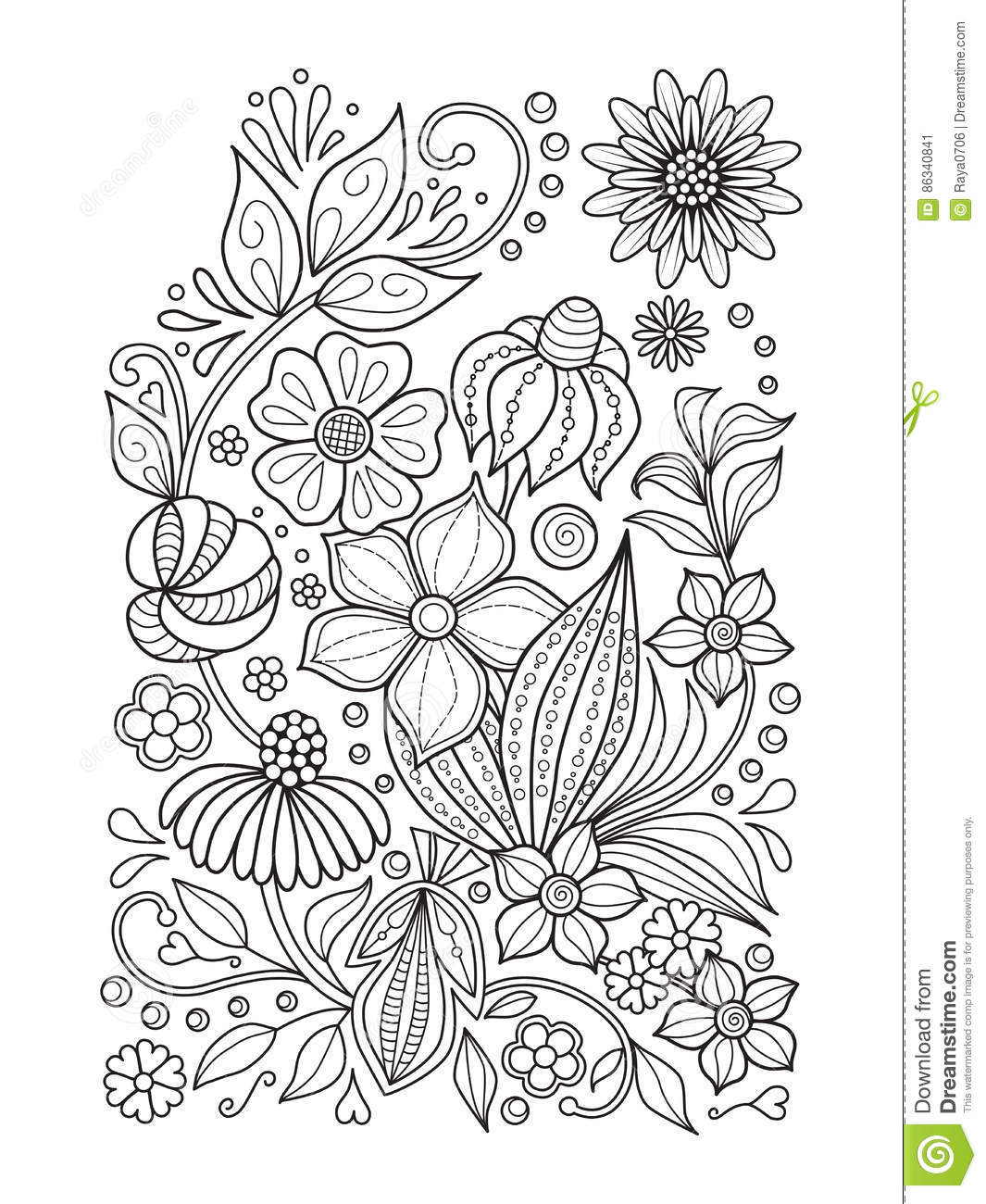 Doodle Floral Pattern In Black And White. Page For