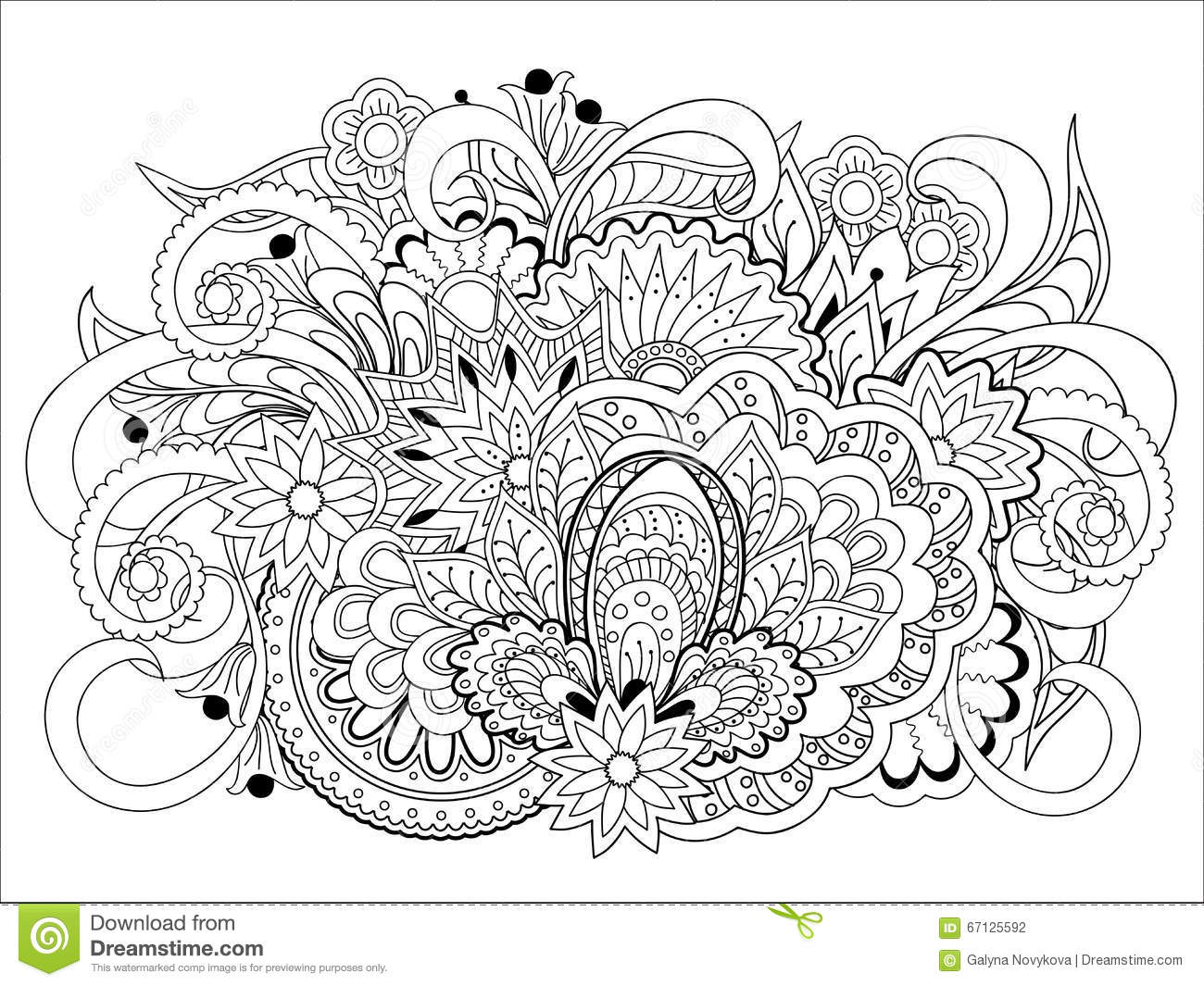 Doodle Flowers Herb And Mandalas Stock Vector Image