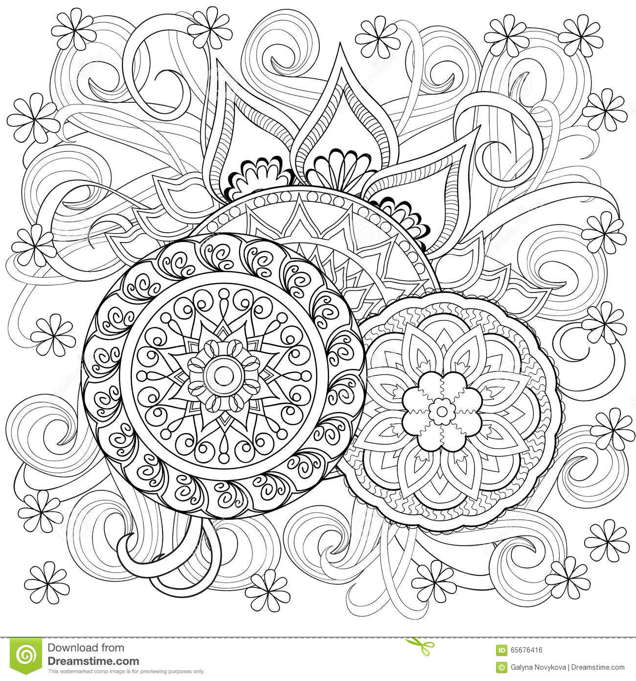 Doodle Flowers And Mandalas Stock Vector Image 65676416