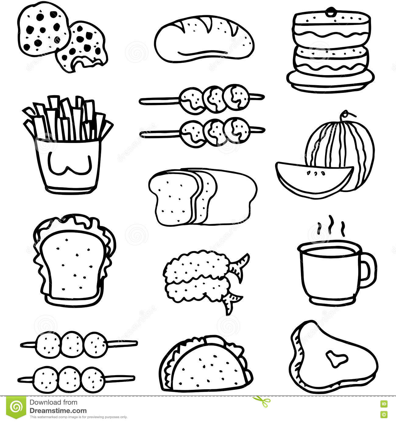 Doodle Of Food Set Hand Draw Stock Vector