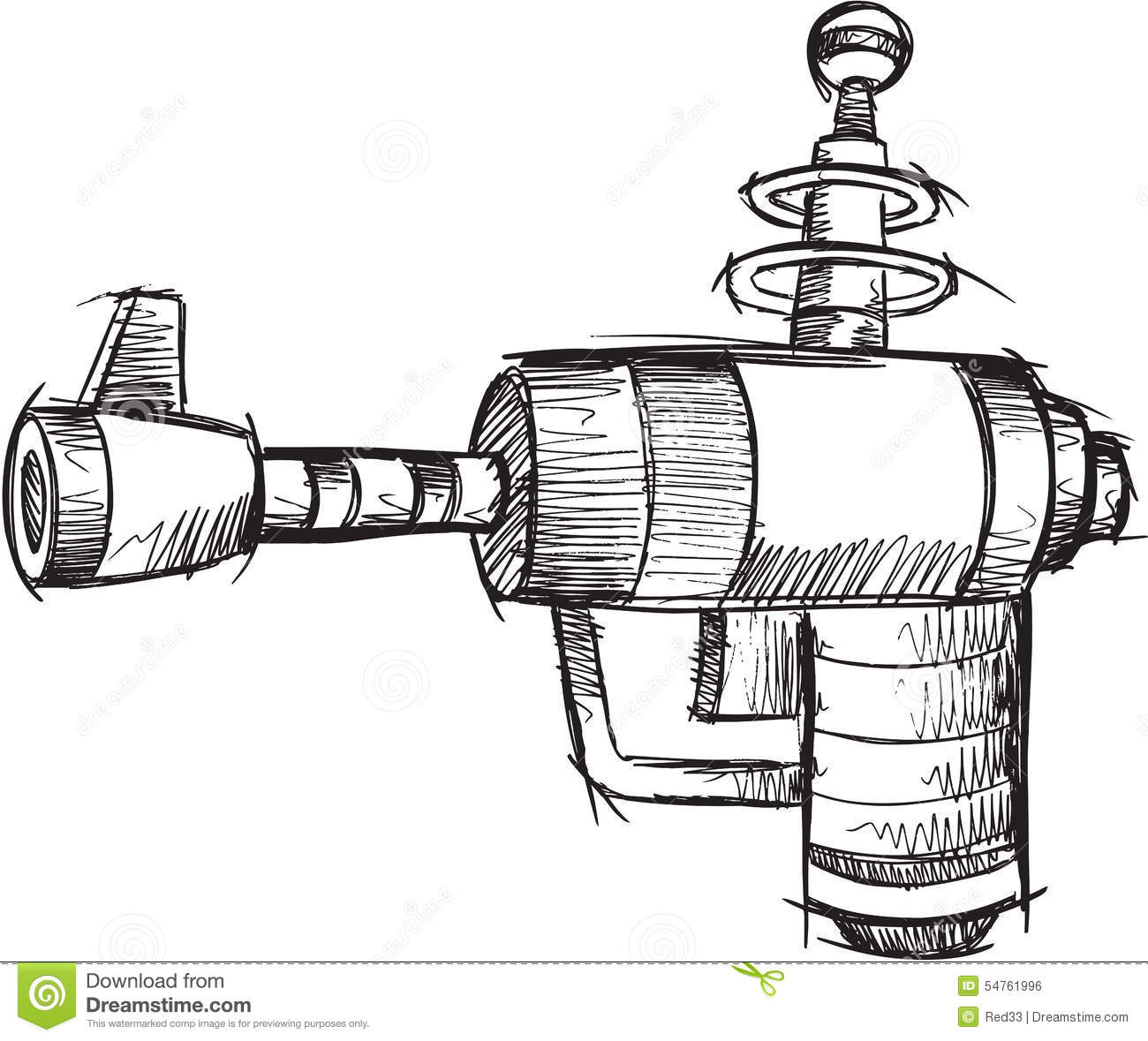 Doodle Gun Vector Stock Vector Illustration Of Technology