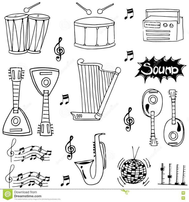 doodle of hand draw musical instrument stock vector - illustration