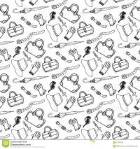 Doodle Hand Drawn Girl Fashion Accessories And Handbags ...
