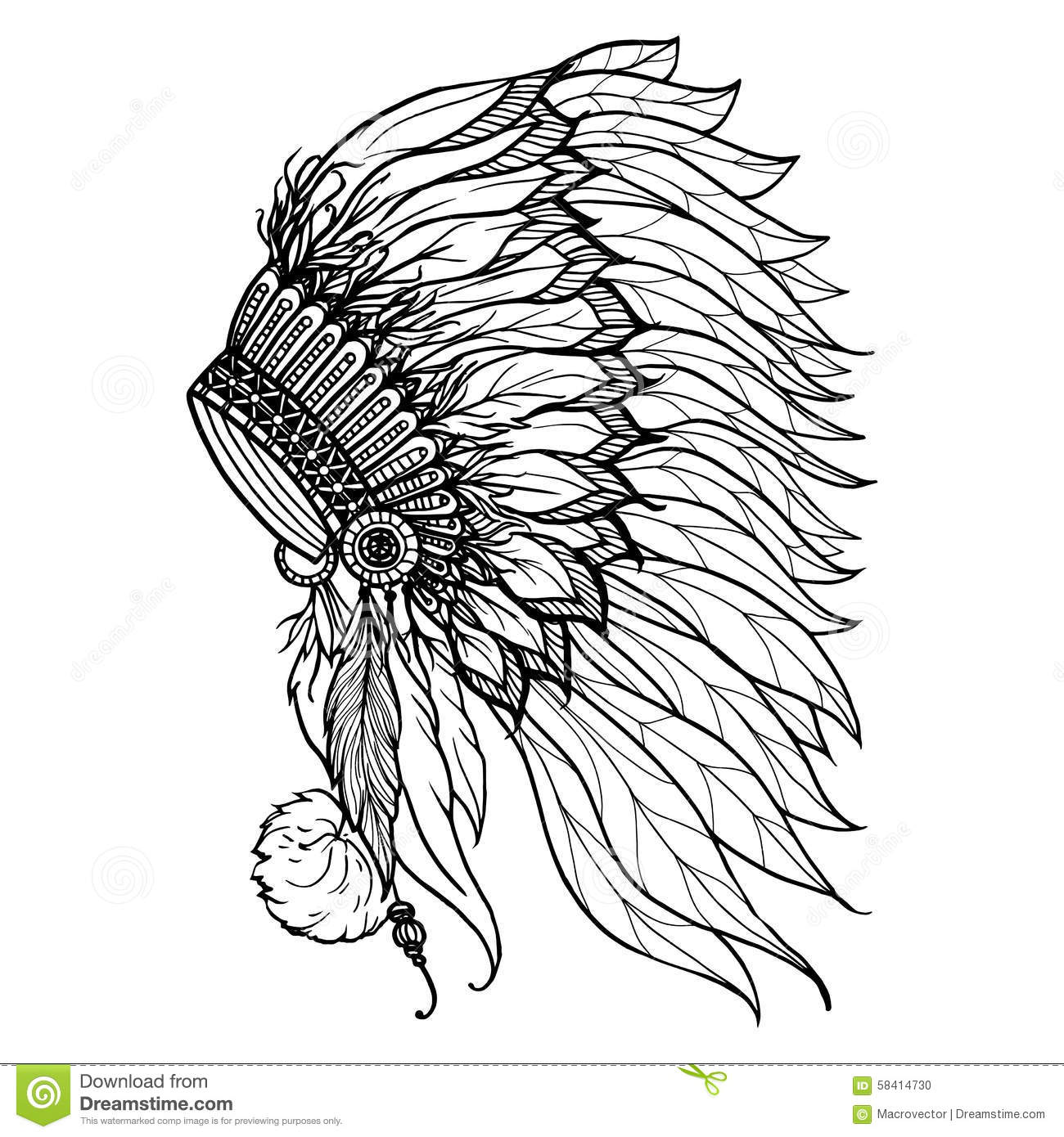 Doodle Headdress For Indian Chief Stock Vector