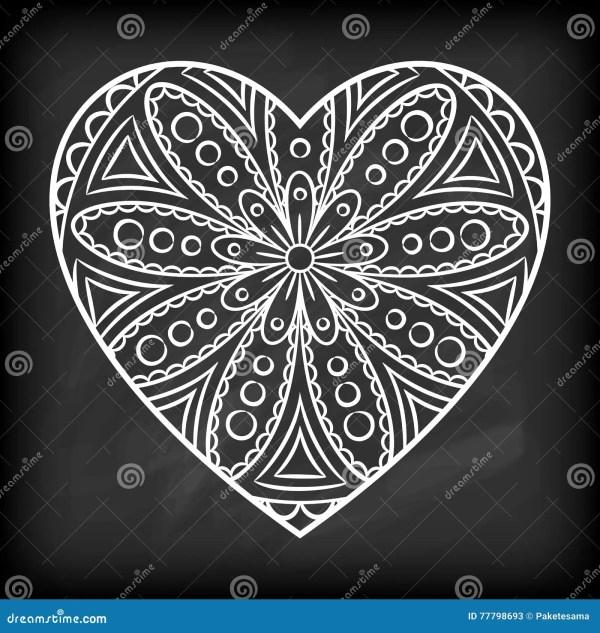 Doodle Heart Mandala Stock Vector. Illustration Of Indian - 77798693
